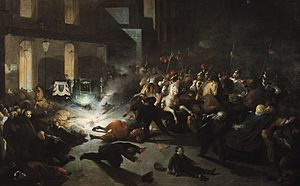 Orsini affair - 1862 oil painting of the attentat d'Orsini.