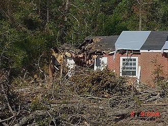 Hurricane Katrina tornado outbreak - Image: August 29, 2005, Newton County, Mississippi, tornado damage