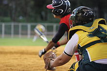 Women playing softball