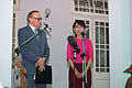 Australian Former Foreign Minister Bob Carr speaks outside the home of Myanmar parliamentarian Daw Aung San Suu Kyi during a press conference following their meeting on June 6, 2012. Photo- Christopher Davy - AusAID (10674784223).jpg