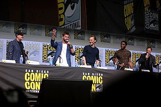Avengers: Infinity War - L-R: Kevin Feige, Chris Hemsworth, Tom Hiddleston, Chadwick Boseman and Mark Ruffalo at the 2017 San Diego Comic-Con
