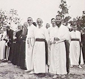 Batu Lintang camp - Priests waiting to welcome the liberating forces, 11 September 1945