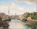 Axel Johansen - Frederiksholms Kanal med udsigt til Vor Frue Kirke - 1930.png