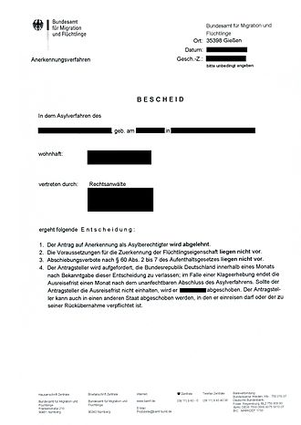 Asylum in Germany - Example of a letter received by a refugee informing of a denial to the right of asylum