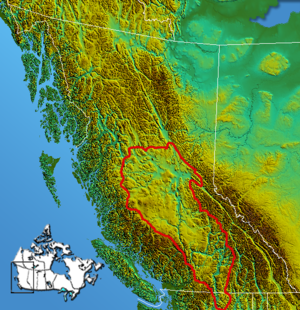 Interior Plateau - Boundary of the Interior Plateau (shown including Okanagan, Shuswap and Quesnel Highlands)