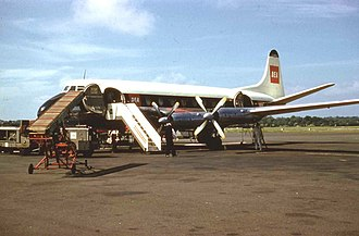 British European Airways - BEA Viscount 701 in the red, black and white livery at Belfast Nutts Corner Airport on 1 June 1960.