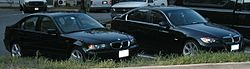 E46 and E90 3-Series sedans side-by-side
