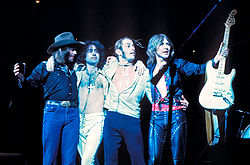 Bad Company 1976.von links :Burrell, Rodgers, Kirke, Ralphs