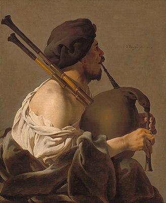 """Bagpipes - De doedelzakspeler (""""Bagpipe Player""""), Hendrick ter Brugghen, 1624"""