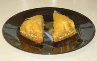 Pastry - A typical Mediterranean baklava, a phyllo dough pastry sweetened with nuts and honey