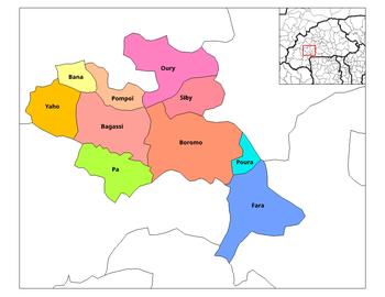 Vị trí của Bana, Balé trong tỉnh