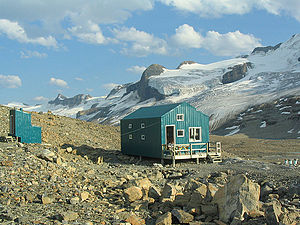 Alpine Club of Canada - The Balfour Hut with Mount Balfour in the background, Sept. 2005