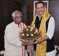 Bandaru Dattatreya meeting the Minister of State for Skill Development & Entrepreneurship (Independent Charge) and Parliamentary Affairs, Shri Rajiv Pratap Rudy, in New Delhi.jpg
