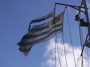 National Navy of Uruguay - Uruguay flag and pennant on the ROU 21 Sirius