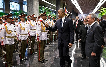 Barack Obama and Raul Castro meeting with members of the Cuban Revolutionary Armed Forces Band. Barack Obama and Raul Castro at the Palace of the Revolution in Havana, Cuba 03.21.16.jpg