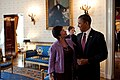 Barack Obama chats with Senior Advisor Valerie Jarrett in the Blue Room, White House, 2010.jpg