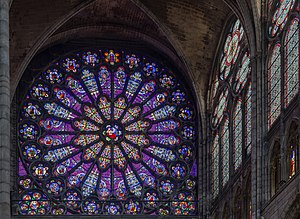 Basilica of St Denis - The north transept rose features the Tree of Jesse.