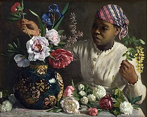Black Woman with Peonies