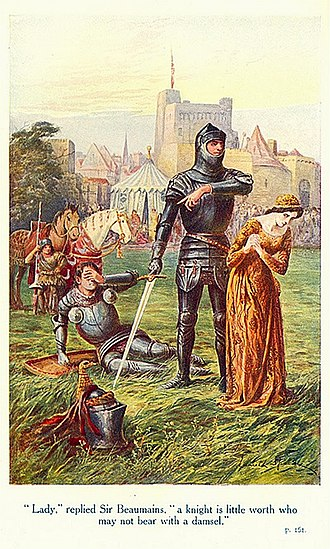 "Gareth - ""'Lady,' replied Sir Beaumains, 'a knight is little worth who may not bear with a damsel.'"" Lancelot Speed's illustration for James Thomas Knowles' The Legends of King Arthur and His Knights (1912)"