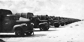 Malakal - Image: Belgian trucks parked at Malakal