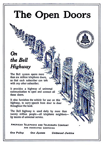 Bell System - 1912 Bell System advertisement promoting its slogan for universal service