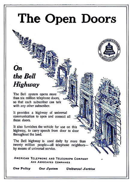 1912 Bell System advertisement promoting its slogan for universal service Bell System advertisement in Western Electric v1no1 News March 1912 promoting universal service.jpg