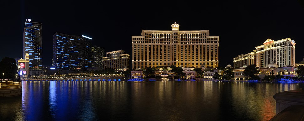 Four-segment panorama of the Cosmopolitan, Bellagio, and Caesars Palace (left to right) from the Las Vegas Strip, across from the Bellagio fountains.