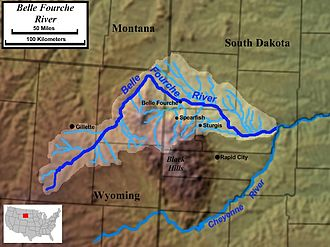 Belle Fourche River -  Course and watershed of the Belle Fourche River