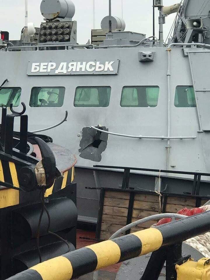 Berdyansk damaged gunboat