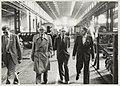 Bezoek van B en W aan de Hoofdwerkplaats van de N.S. n.a.v. het 140-jarig bestaan van de spoorlijn Haarlem-Amsterdam. V.l.n.r. 2e Directeur de Jong, 3de Burgemeester Reehorst en 4de chef Hoo, NL-HlmNHA 54010179.JPG