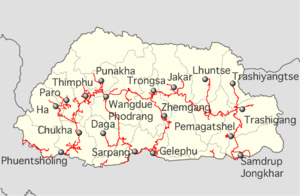 Bhutan highways labeled location map