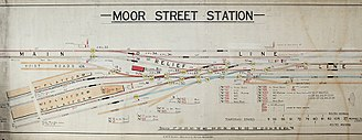 Birmingham Moor Street railway station - Part of a 1922 GWR signalling diagram. The through line from Snow Hill (to the left) is at the top, the goods station at the bottom, and the passenger platforms in the middle.