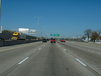 Interstate 94 in Illinois - The Bishop Ford Freeway in South Holland, approaching exit 73