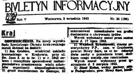 1943 Information Bulletin article on Kedyw execution of szmalcownik Jan Grabiec, who had blackmailed residents of villages that hid Jews Biuletyn Informacyjny 2 wrzesnia 1943.JPG