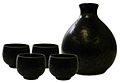 Black crystal oval sake set 4cup.jpg