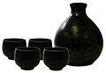Black crystal oval sake set 4cup.jpg