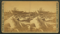 Blasting ice with dynamite from in front of steamer on the ways, by Stanley J. Morrow.png