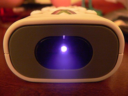 Infrared light from the LED of a remote control as recorded by a digital camera. Blue infrared light.jpg