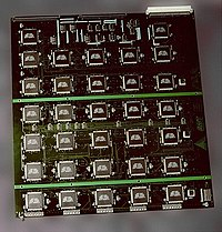 Modern cryptanalysts sometimes harness large numbers of integrated circuits. This board is part of the EFF DES cracker, which contained over 1800 custom chips and could brute force a DES key in a matter of days.