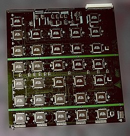 The EFF's US$250,000 DES cracking machine contained over 1,800 custom chips and could brute force a DES key in a matter of days — the photograph shows a DES Cracker circuit board fitted with several Deep Crack chips.