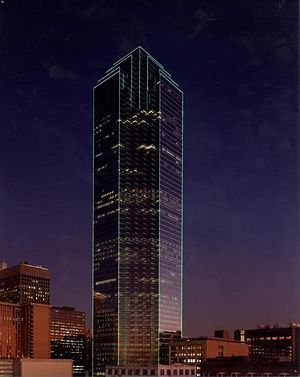 Wedge International Tower - The neon green outline of Dallas' Bank of America Plaza, pictured here, inspired the lighting scheme of Wedge International Tower