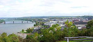 Parkersburg, West Virginia - Downtown Parkersburg as viewed from Fort Boreman Historical Park in 2006