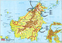 Map of Borneo showing progress of campaigns in mid-1945