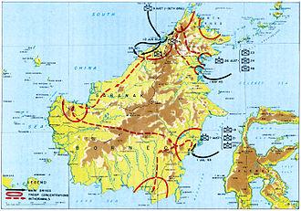 Battle of Labuan - Map showing the Borneo campaign of mid-1945. Labuan is off the northwest coast of Borneo.