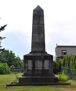 Canada–United States border - Boundary Marker No.1 on the 49th parallel north on the western shore of Point Roberts, Washington, erected in 1861