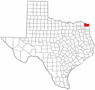 National Register of Historic Places listings in Bowie County, Texas - Location of Bowie County in Texas