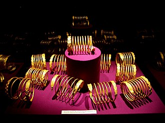 Culture of Romania - Dacian gold bracelets on display in the National Museum of Romanian History, Bucharest