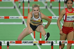 Brianne Theisen-Eaton - Theisen Eaton competes in the hurdles event at the 2016 World Indoor Championship in Portland, Oregon.