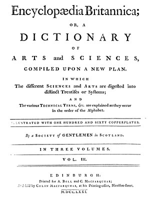 History of the Encyclopædia Britannica - Title page from the first edition