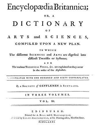 Encyclopædia Britannica First Edition - Title page from the first edition